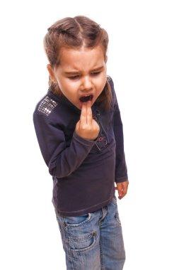 Little girl child vomits burps poisoning and vomiting