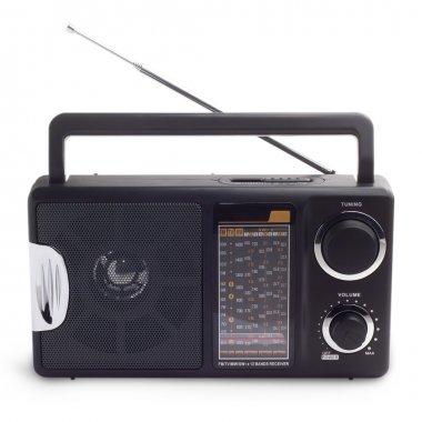 Black vintage radio listen to isolated station waves