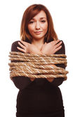 Woman prisoner tied rope hostage female bondage bound girl slave