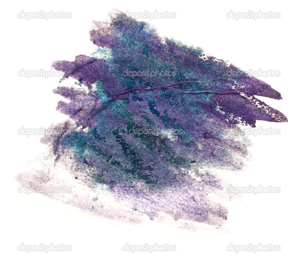 Aquarelle couleur eau encre isol de tache de peinture violet, vert ...