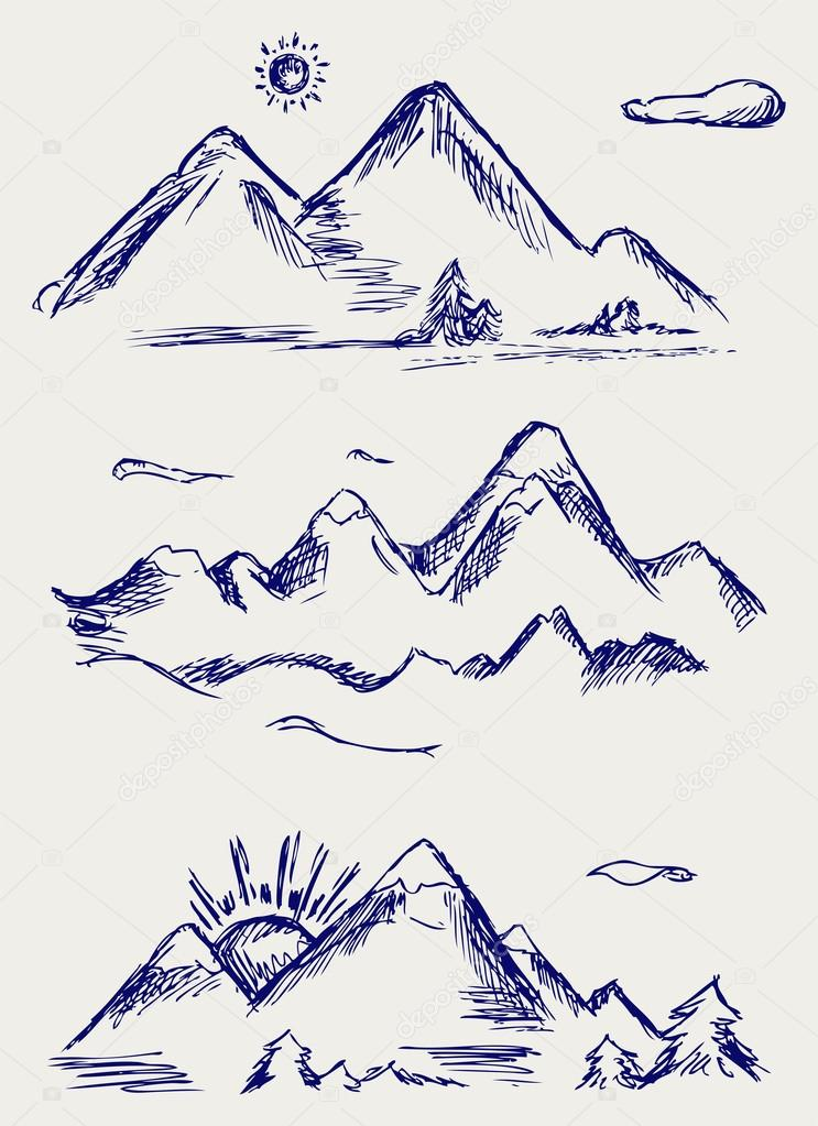 Various high mountain peaks
