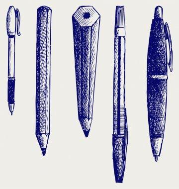 Pencil, pen and fountain pen icons