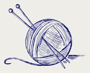Yarn balls with needles