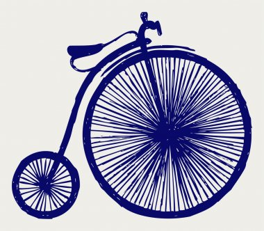 Penny farthing. Doodle style clip art vector