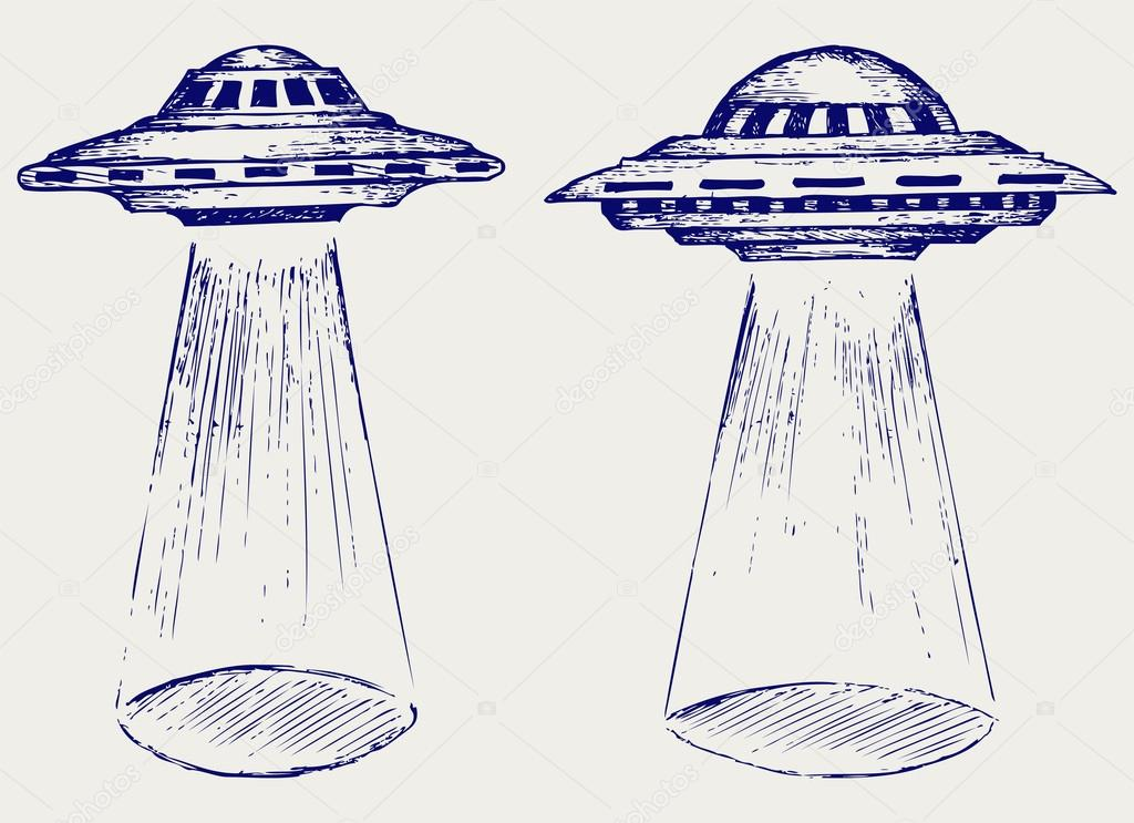 Space Flying Saucer Vector Image By C Kreativ Vector Stock 27385989