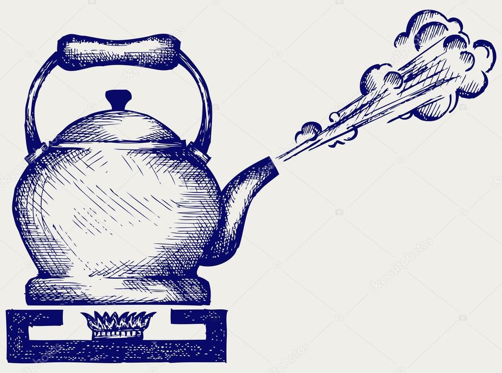 Tea kettle on gas stove