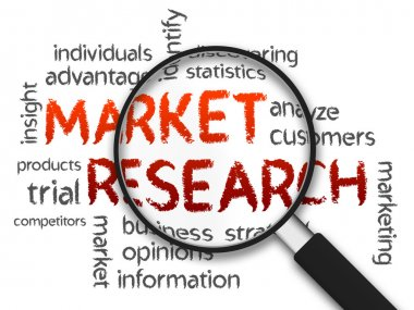 Magnified Market Research word illustration on white background. stock vector