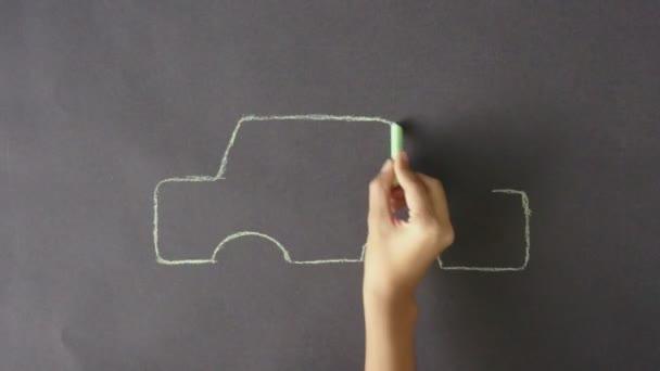 elektrické auto křídou kresba
