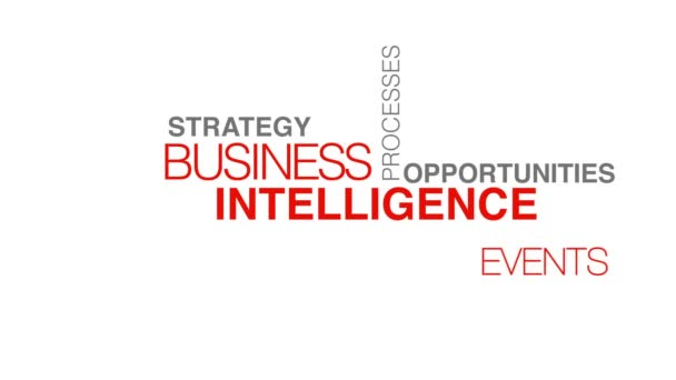 business intelligence slovo mrak animace textu