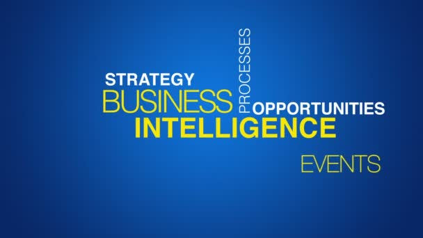 Business intelligence word cloud text animation