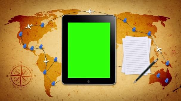 gesta rukou na tabletu s zelená obrazovka