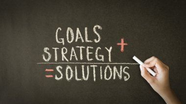 Goals, Strategy, Solutions chalk drawing