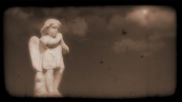 Vintage Film of Angel with Clouds moving in the background