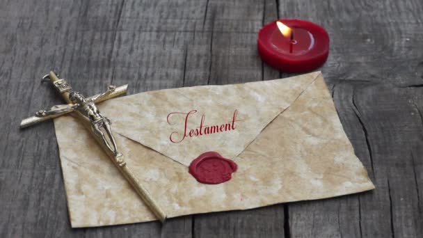 Old letter with candle and christ