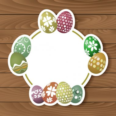 Easter egg design on a wood background stock vector