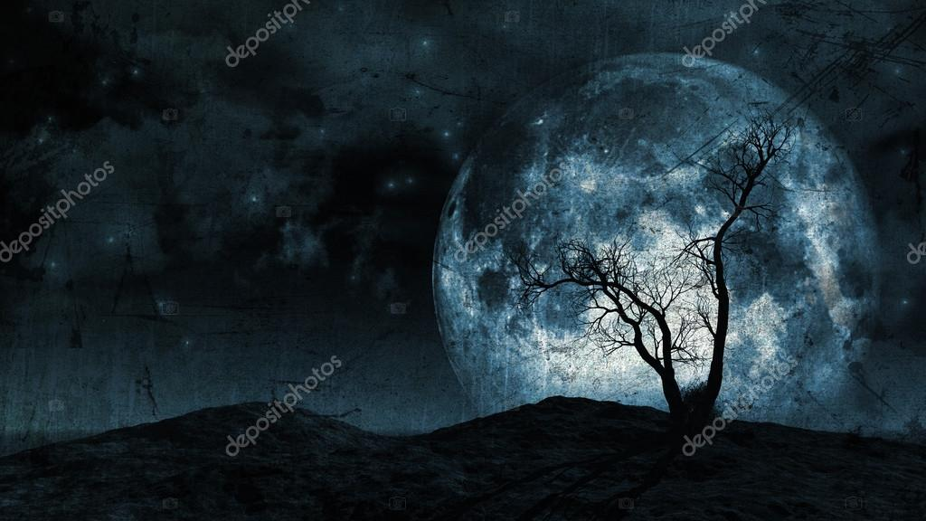 Grunge tree and moon background