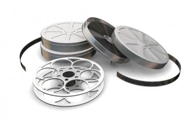 3D render of film reels and film cartons stock vector