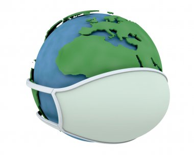 Globe in a surgical mask depicting global pandemic stock vector