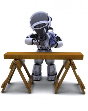 robot with power saw cutting wood