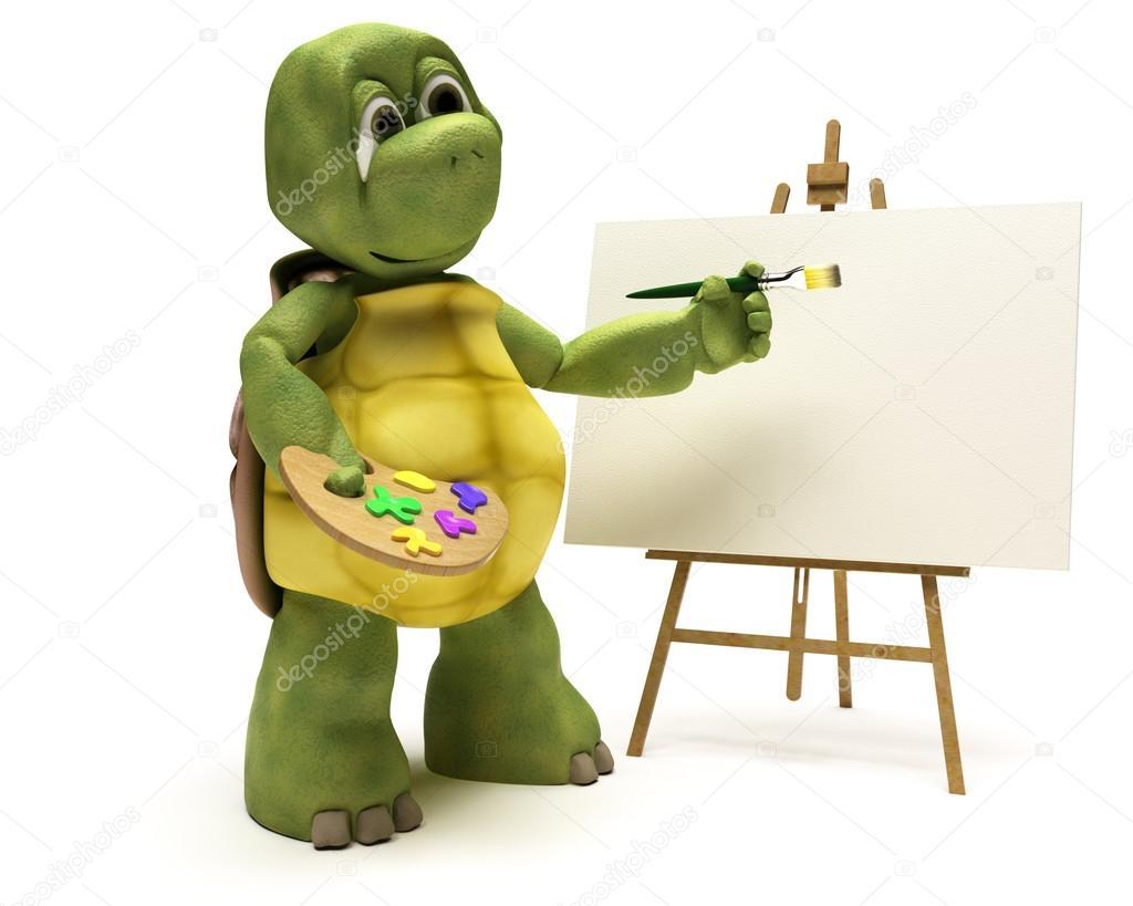 Schildkröte mit Staffelei und Farben-palette — Stockfoto ...