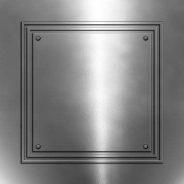 Shiny metal background with square frame stock vector