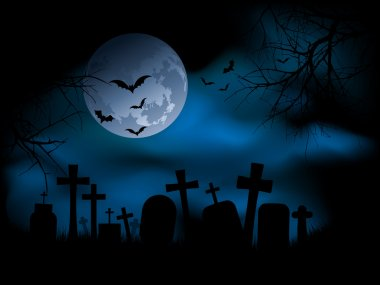 Spooky graveyard at night stock vector