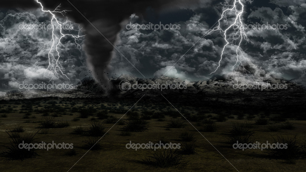 Twister in grassy landscape