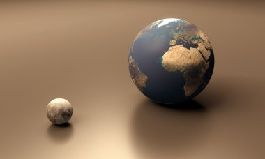 Planet Earth and the Moon blank