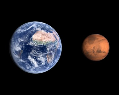 Planets Earth and Mars