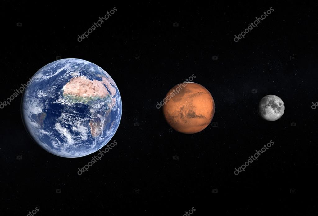 Planeten Erde Und Dem Mars Und Mond Stockfoto Tristan3d 35357235