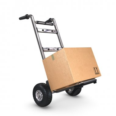 Hand Truck tilted with one Box