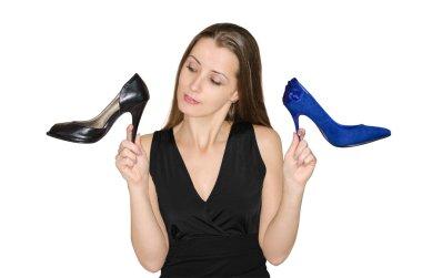 Woman chooses shoes