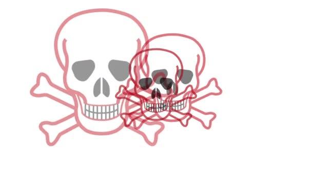 pulsante simbolo teschio e ossa incrociate