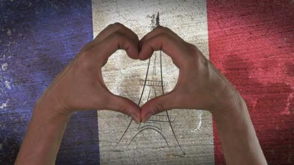 Hands Heart Symbol French Flag