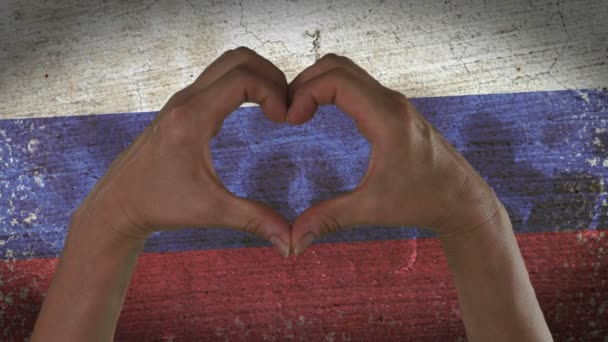 Hands Heart Symbol Russian Flag