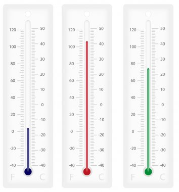 Illustration of thermometers with Celsius and Fahrenheit scales - isolated on white clip art vector