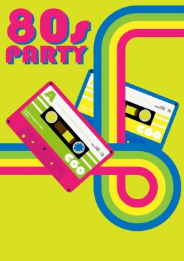 Retro Poster - 80s Party Flyer With Audio Cassette Tapes stock vector