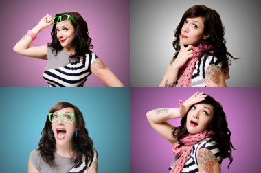 set of pinup tattooed girl wth different expressions