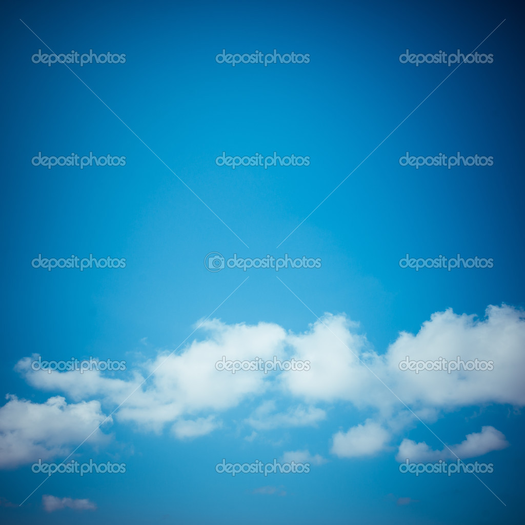 Blue vintage sky with clouds