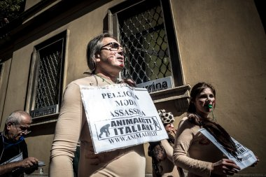 Animalisti Italiani protest against Milan Fashion Week on Septem