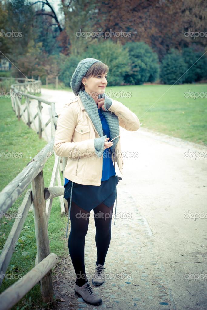 young beautiful woman walking