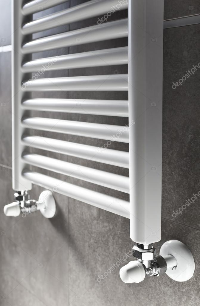 Bathroom Heater Perspective Stock Photo, In Wall Bathroom Heater