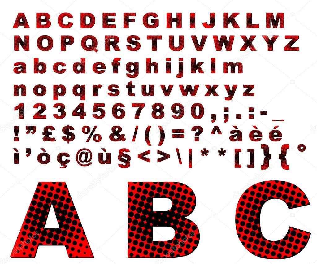 Punkte Fantasy Alphabet - rot — Stockfoto © myper #17857247