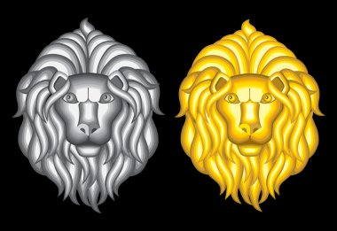 Silver and gold lion heads