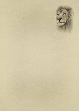 Sepia Toned Lion Face with Text Page
