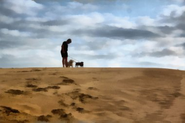 Painting Boy Standing with Dogs On Dune