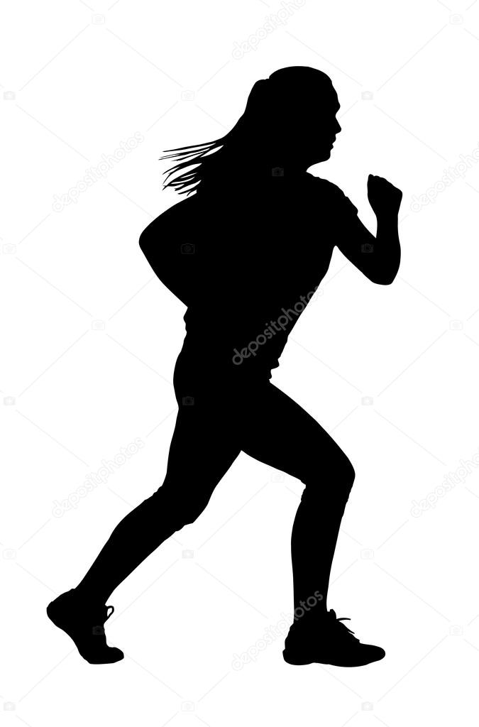 lady with ponytail hair busy jogging or running silhouette vector by cd123