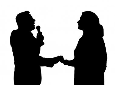Man and Woman Duet Opera Singers Love Song with Microphone Silhouette stock vector