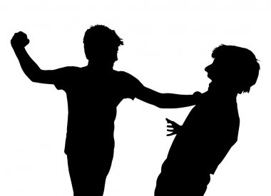Teen Boys In Fist Fight Silhouette