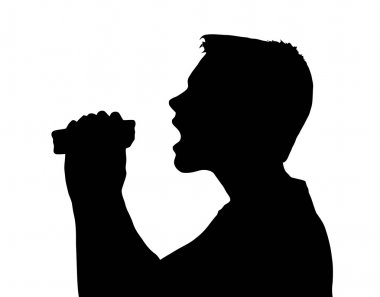 Teen Boy Silhouette Taking Large Bite from Sandwich stock vector